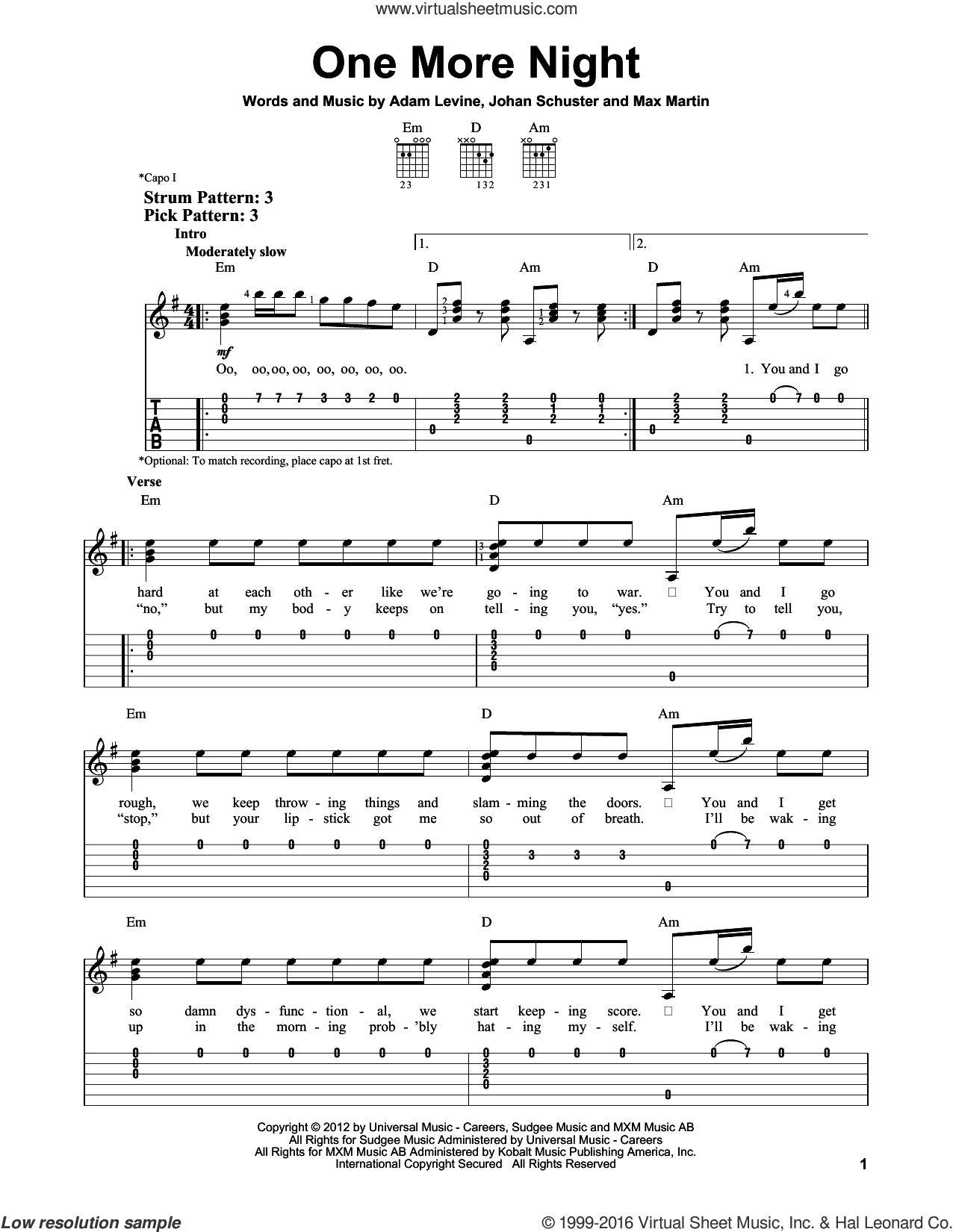 One More Night sheet music for guitar solo (easy tablature) by Maroon 5, easy guitar (easy tablature)