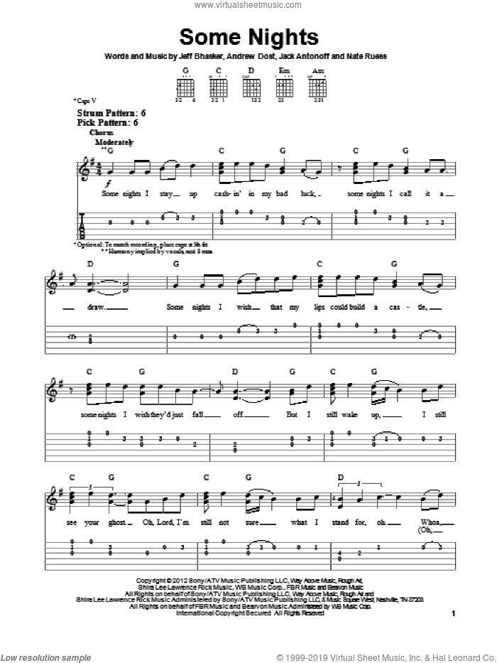 Some Nights sheet music for guitar solo (easy tablature) by fun.. Score Image Preview.