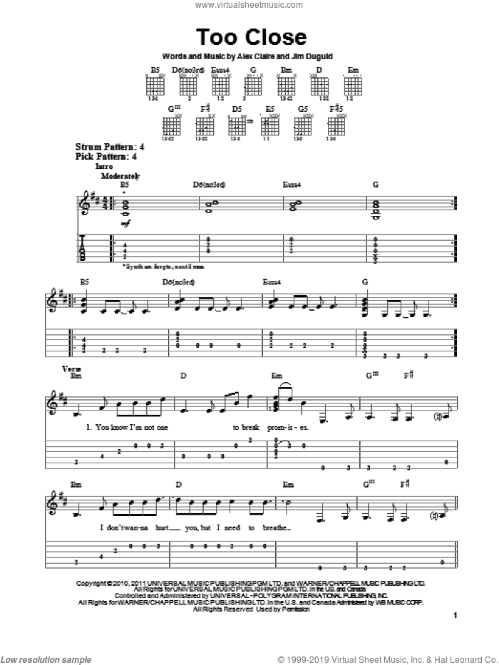 Too Close sheet music for guitar solo (easy tablature) by Alex Clare, Alex Claire and Jim Duguid, easy guitar (easy tablature)