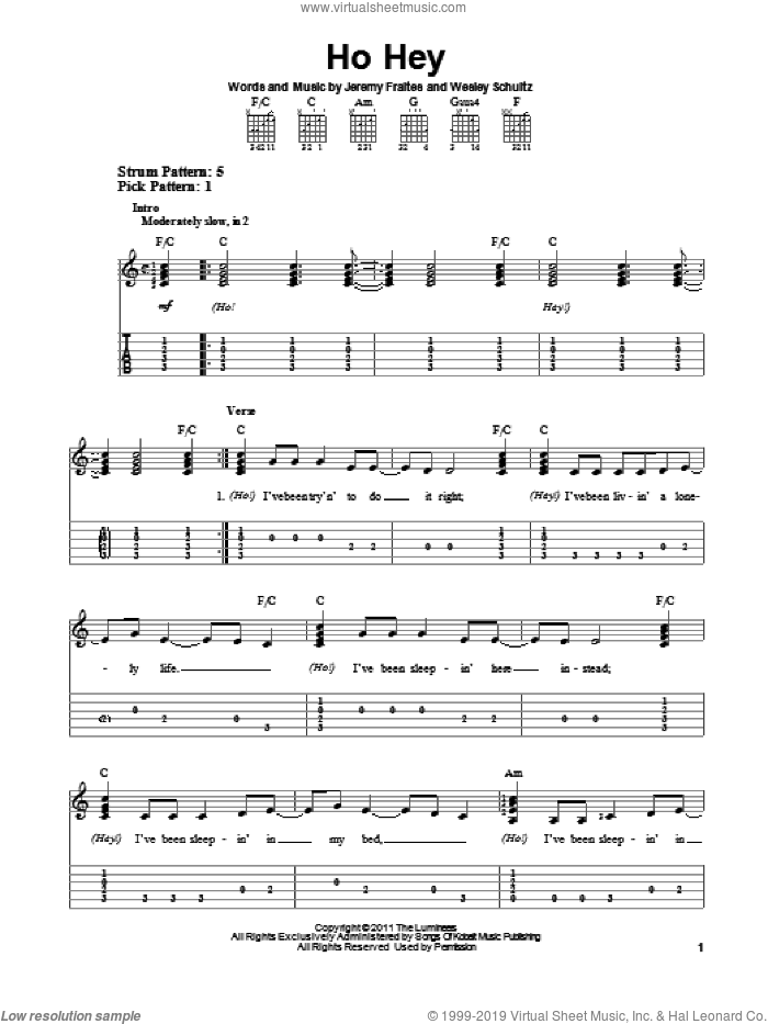 Ho Hey sheet music for guitar solo (easy tablature) by The Lumineers, easy guitar (easy tablature). Score Image Preview.