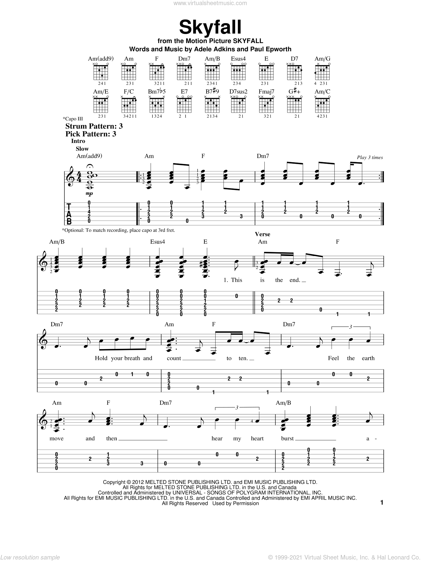 Skyfall sheet music for guitar solo (easy tablature) by Adele and Adele Adkins, easy guitar (easy tablature)