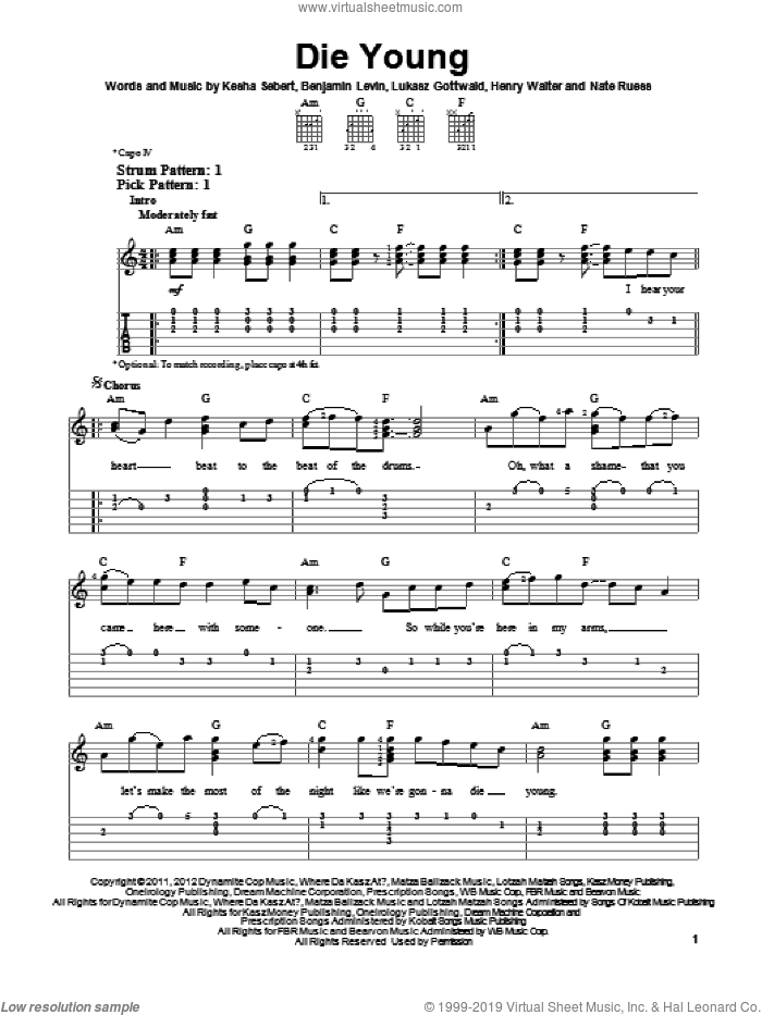 Die Young sheet music for guitar solo (easy tablature) by Kesha, easy guitar (easy tablature)