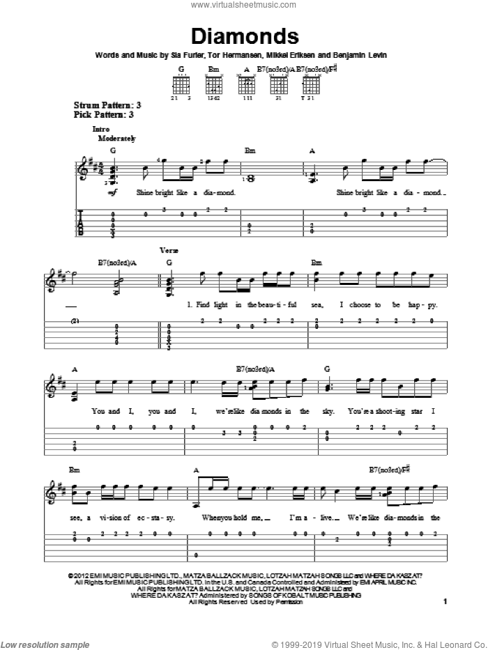 Diamonds sheet music for guitar solo (easy tablature) by Rihanna. Score Image Preview.
