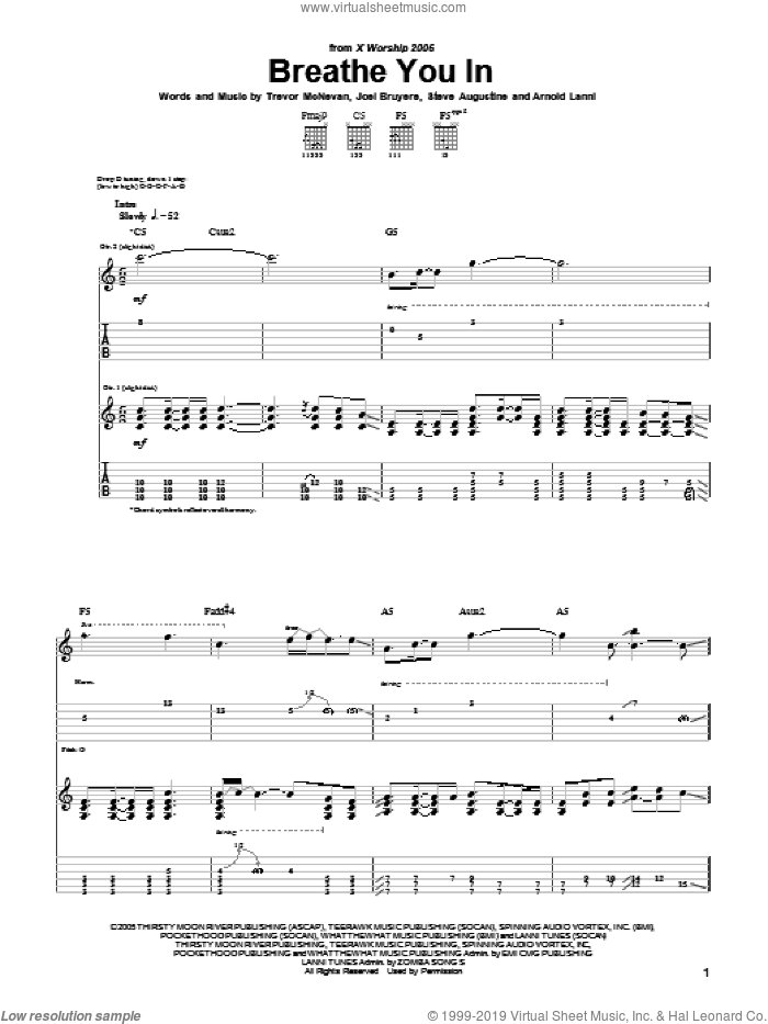 Breathe You In sheet music for guitar (tablature) by Thousand Foot Krutch and Arnold Lanni, intermediate guitar (tablature). Score Image Preview.