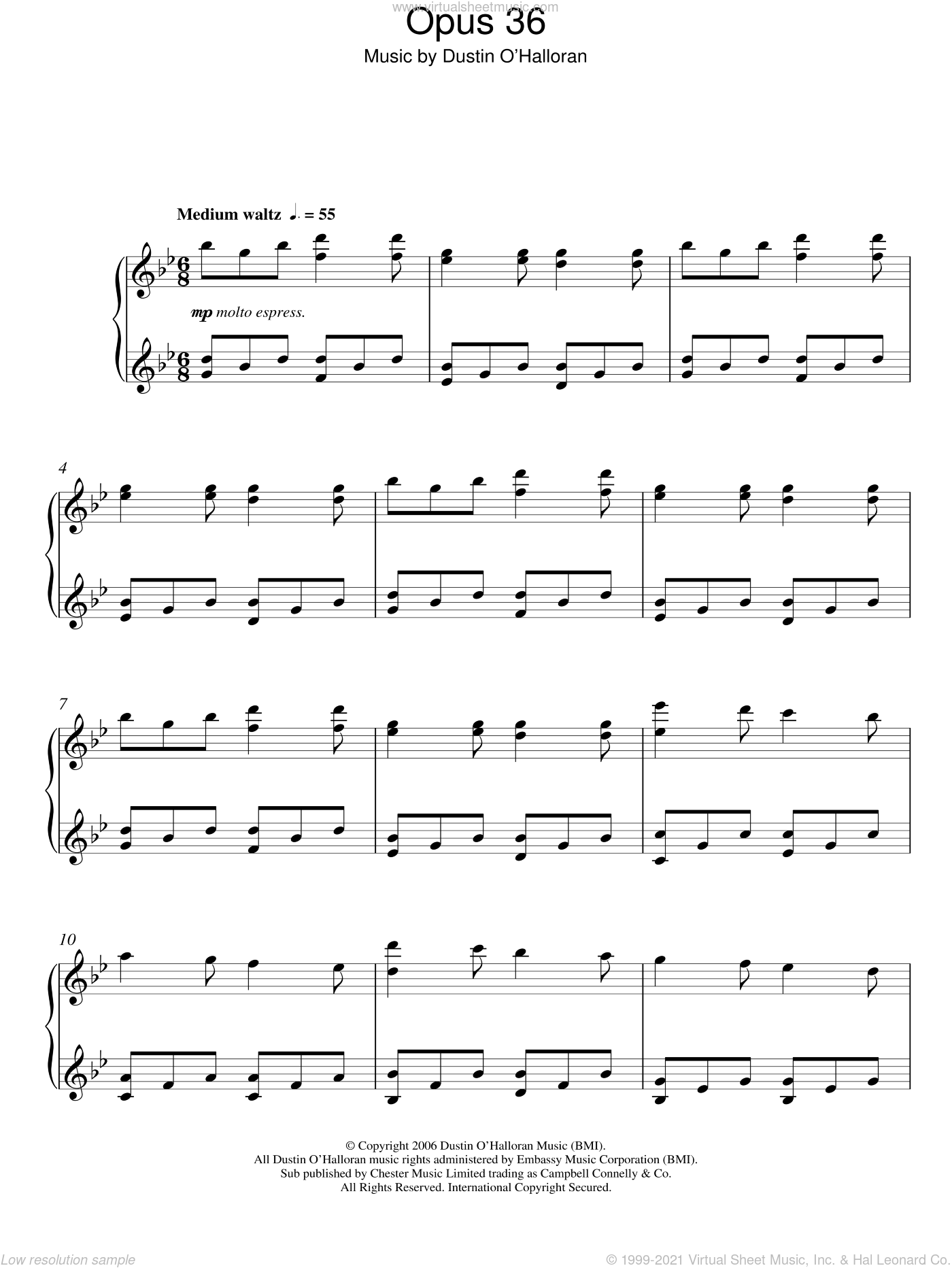 Opus 36 sheet music for piano solo by Dustin O'Halloran. Score Image Preview.