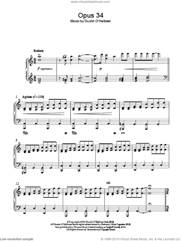 Opus 34 sheet music for piano solo by Dustin O'Halloran