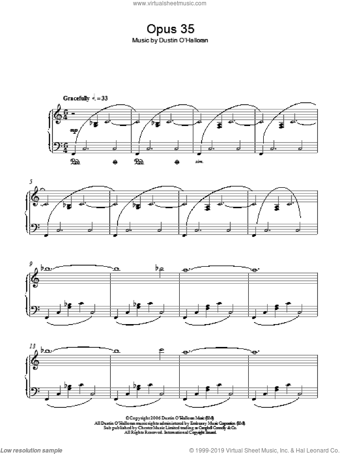 Opus 35 sheet music for piano solo by Dustin O'Halloran