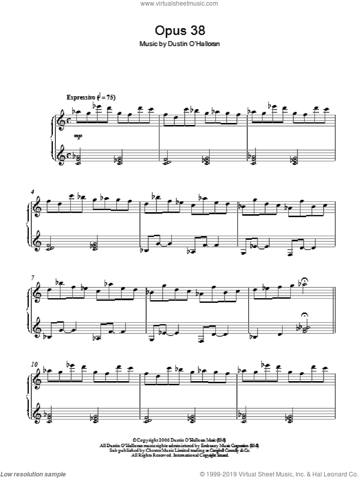 Opus 38 sheet music for piano solo by Dustin O'Halloran, classical score, intermediate. Score Image Preview.
