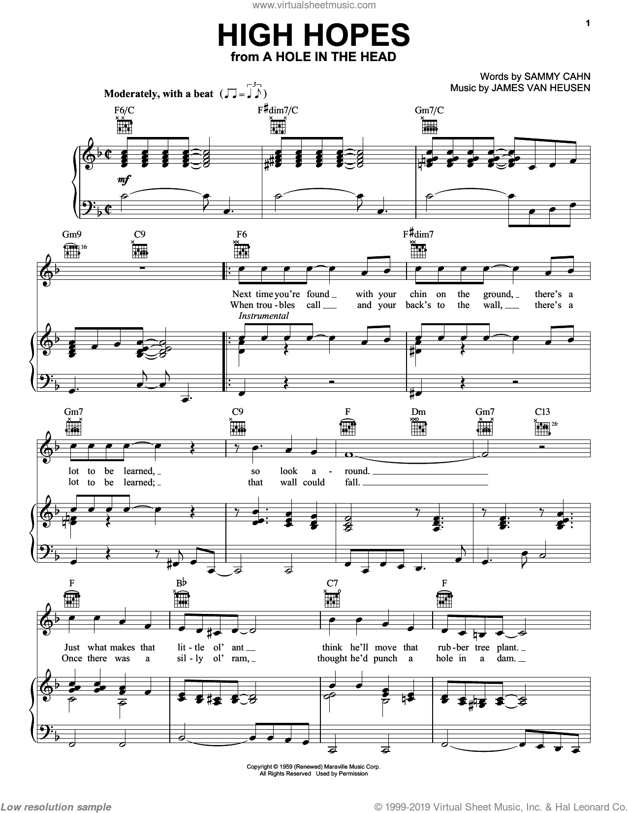 High Hopes sheet music for voice, piano or guitar by Frank Sinatra, Jimmy van Heusen and Sammy Cahn, intermediate skill level