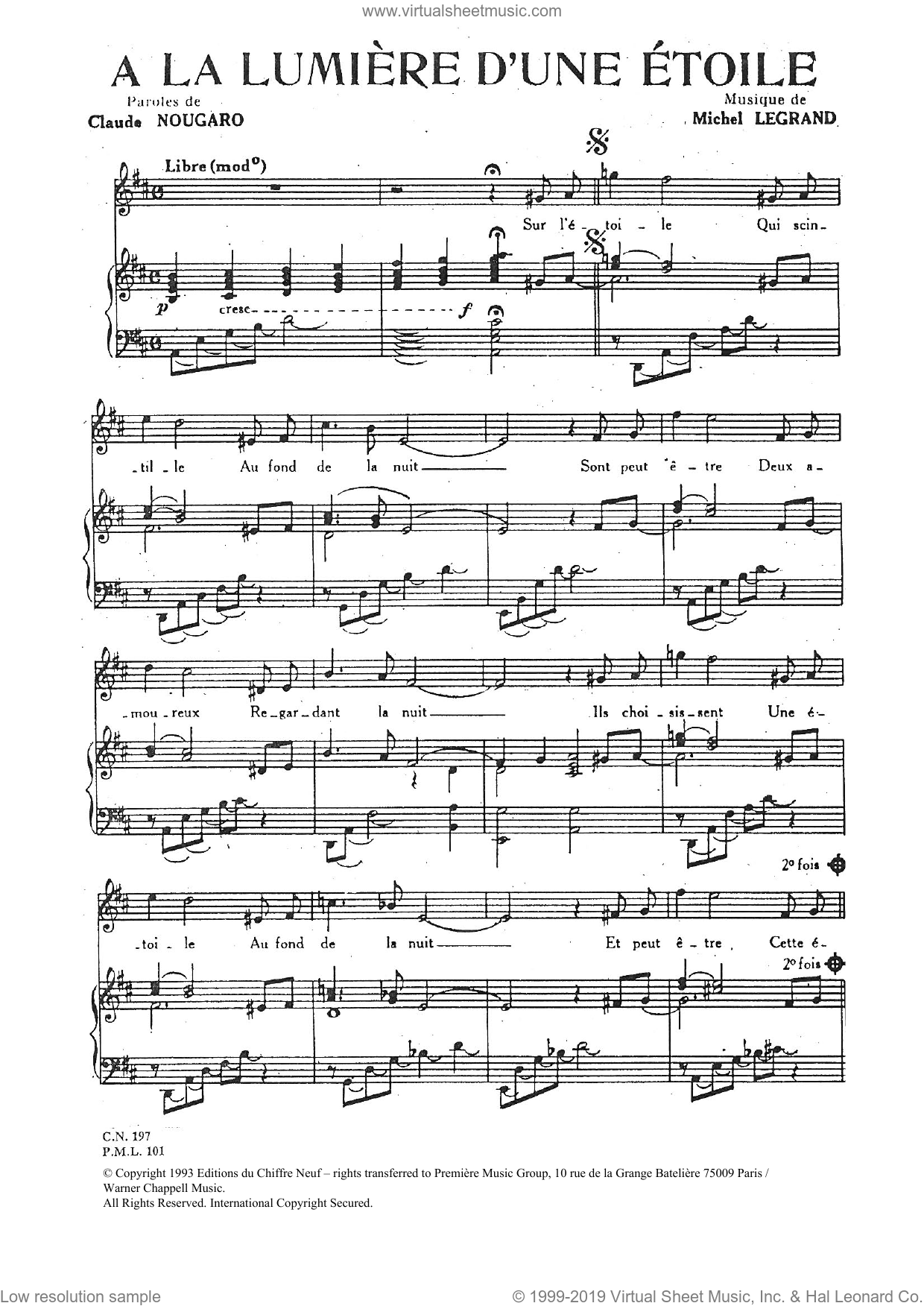 A La Lumiere D'une Etoile sheet music for voice and piano by Michel LeGrand