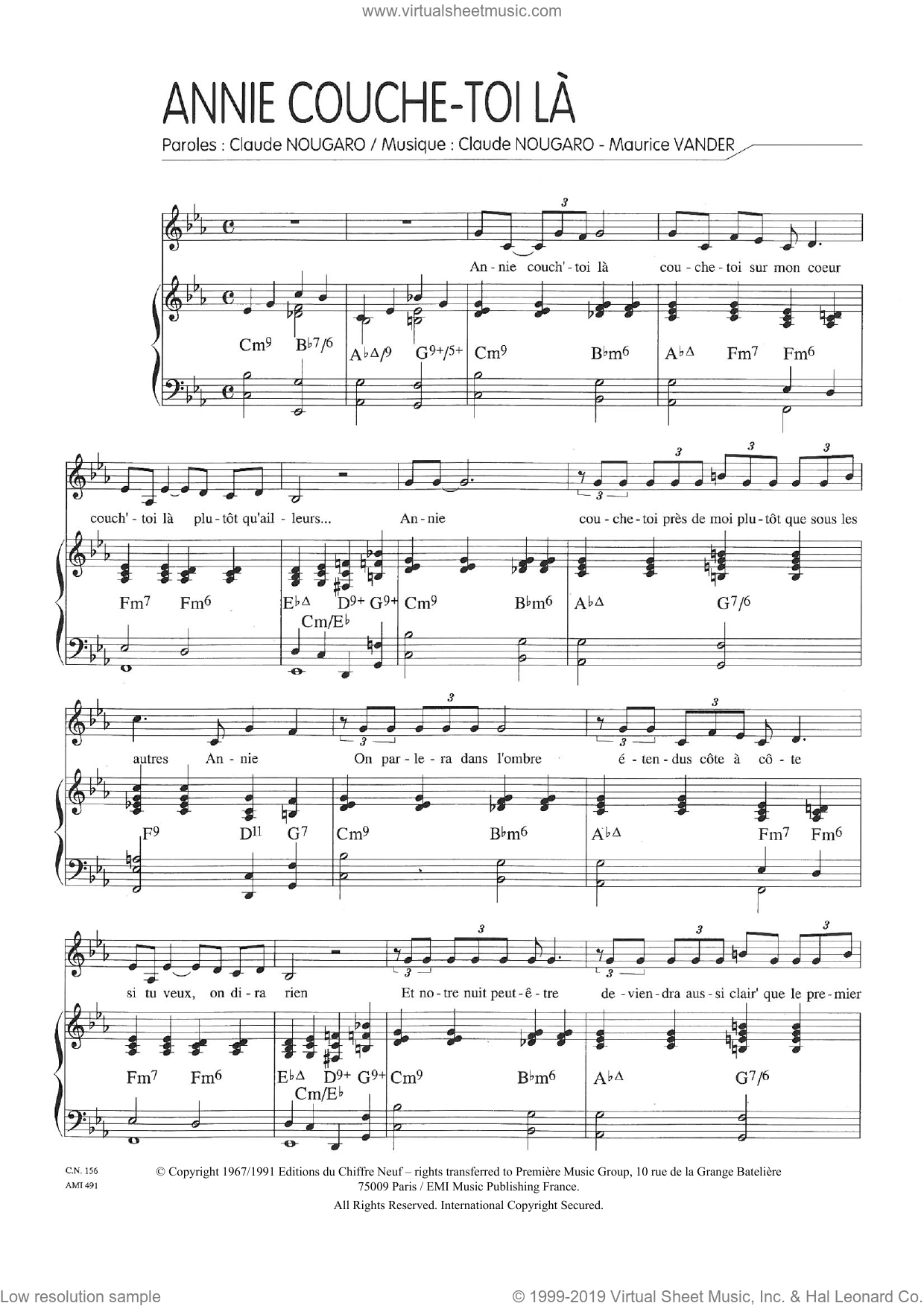 Annie Couche-Toi La sheet music for voice and piano by Claude Nougaro and Maurice Vanderschueren, intermediate skill level