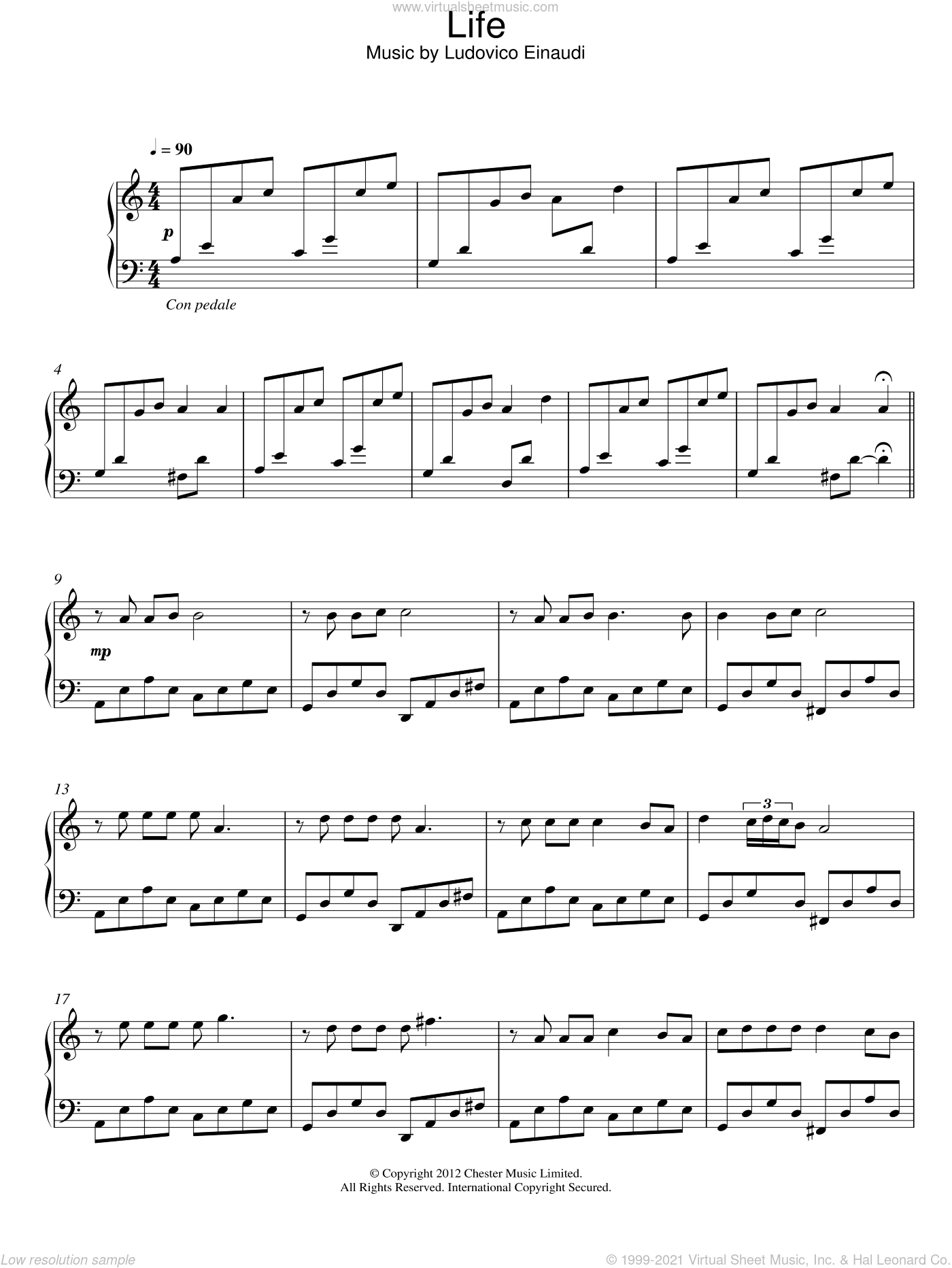 Life sheet music for piano solo by Ludovico Einaudi