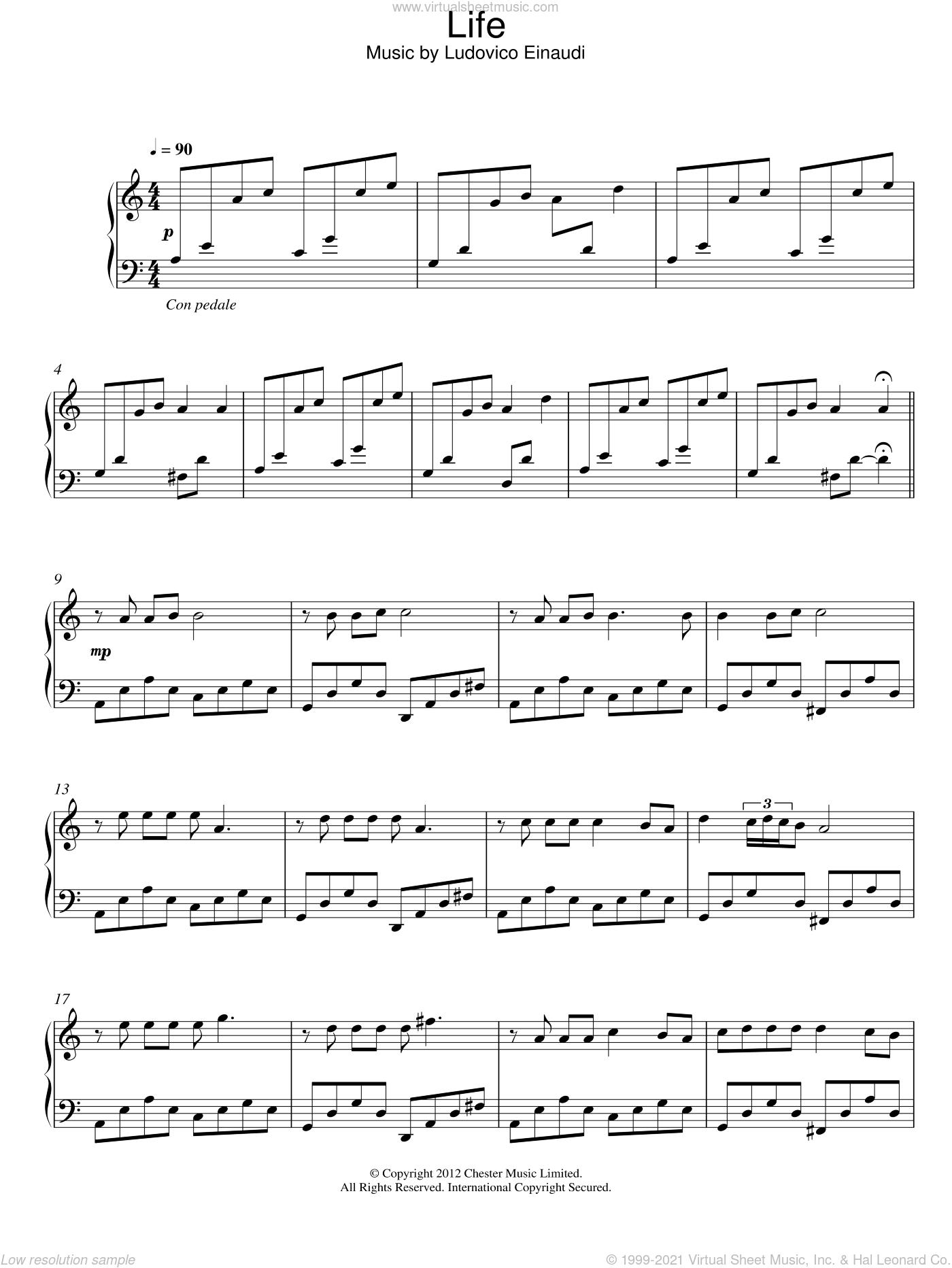 Life sheet music for piano solo by Ludovico Einaudi, classical score, intermediate skill level