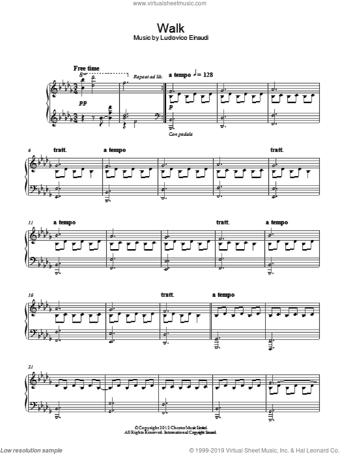 Walk sheet music for piano solo by Ludovico Einaudi, classical score, intermediate. Score Image Preview.
