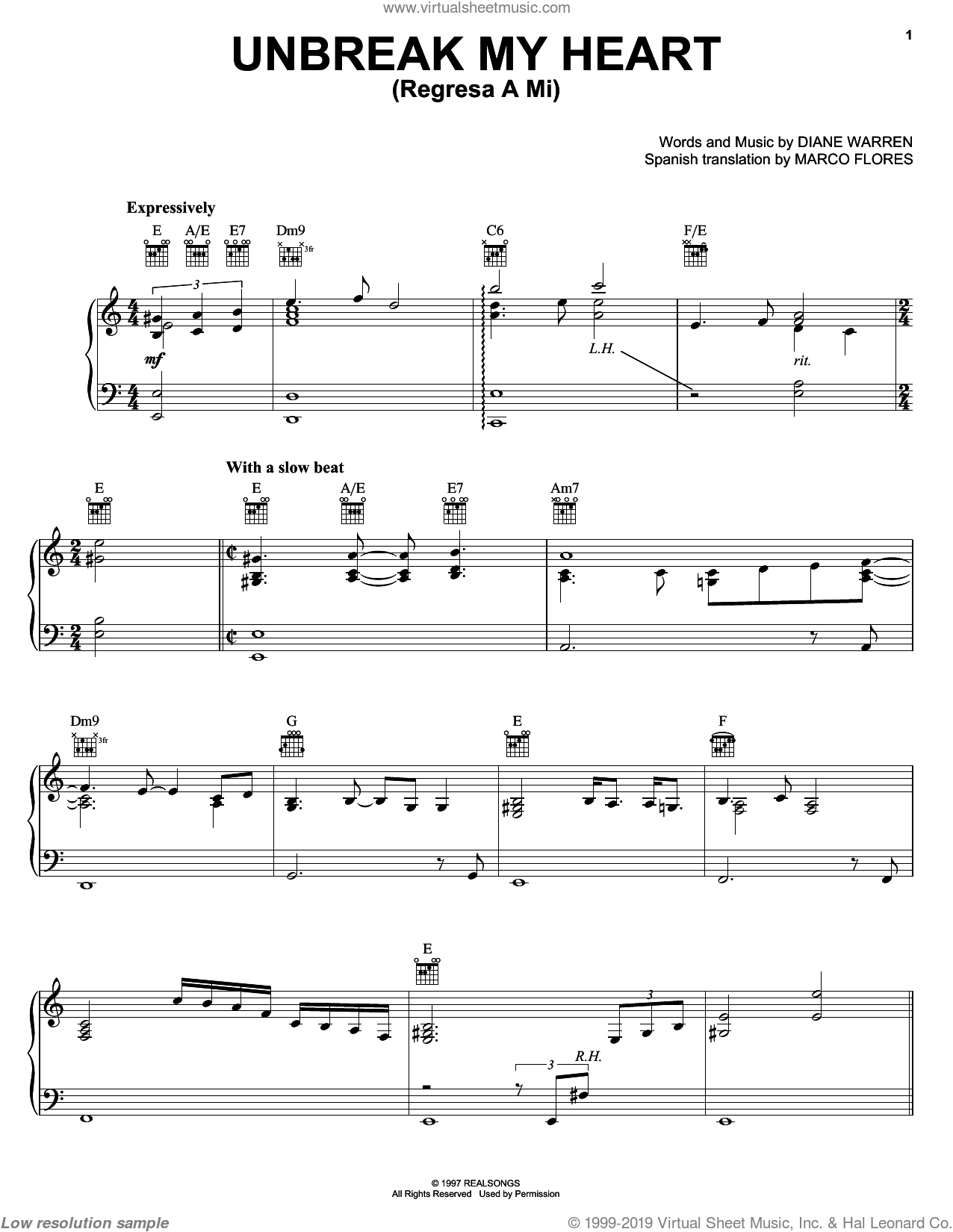 Un-break My Heart sheet music for voice, piano or guitar by Diane Warren and Il Divo, intermediate skill level
