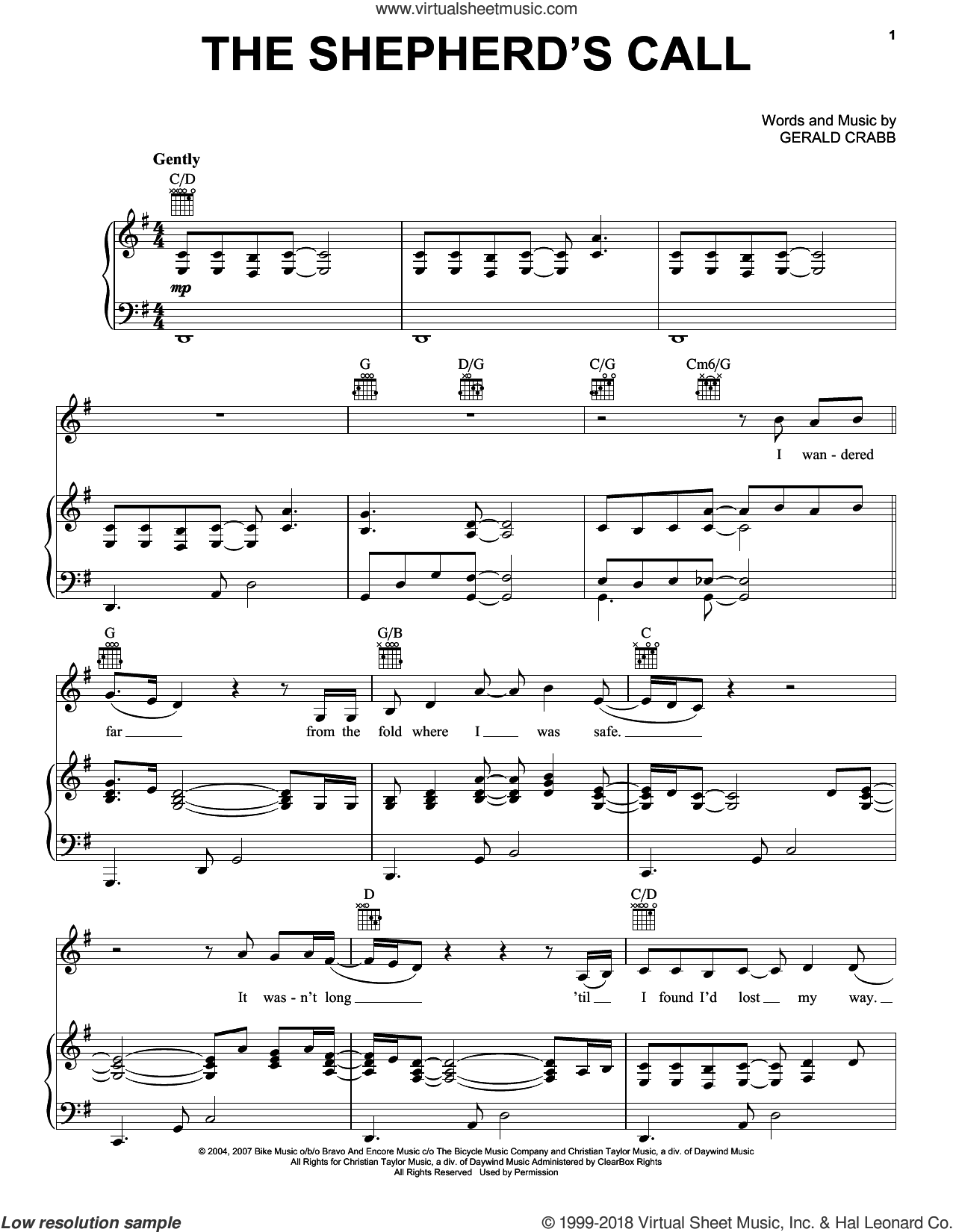 The Shepherd's Call sheet music for voice, piano or guitar by The Crabb Family, intermediate voice, piano or guitar. Score Image Preview.
