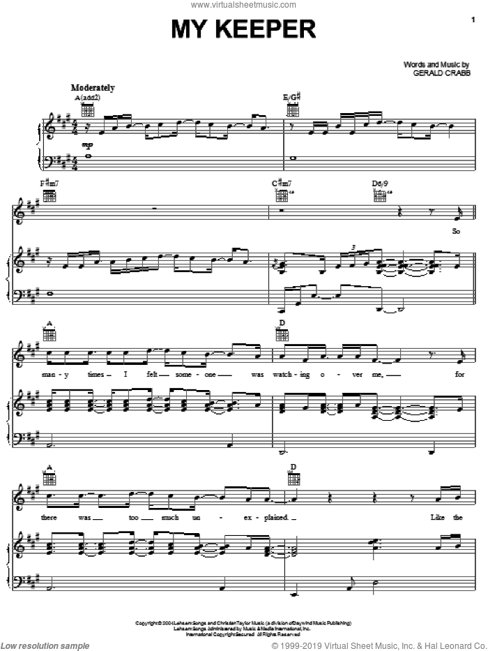 My Keeper sheet music for voice, piano or guitar by The Crabb Family and Gerald Crabb, intermediate skill level