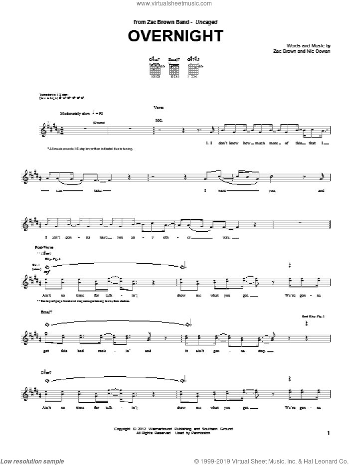 Overnight sheet music for guitar (tablature) by Zac Brown Band, Nic Cowan and Zac Brown, intermediate skill level