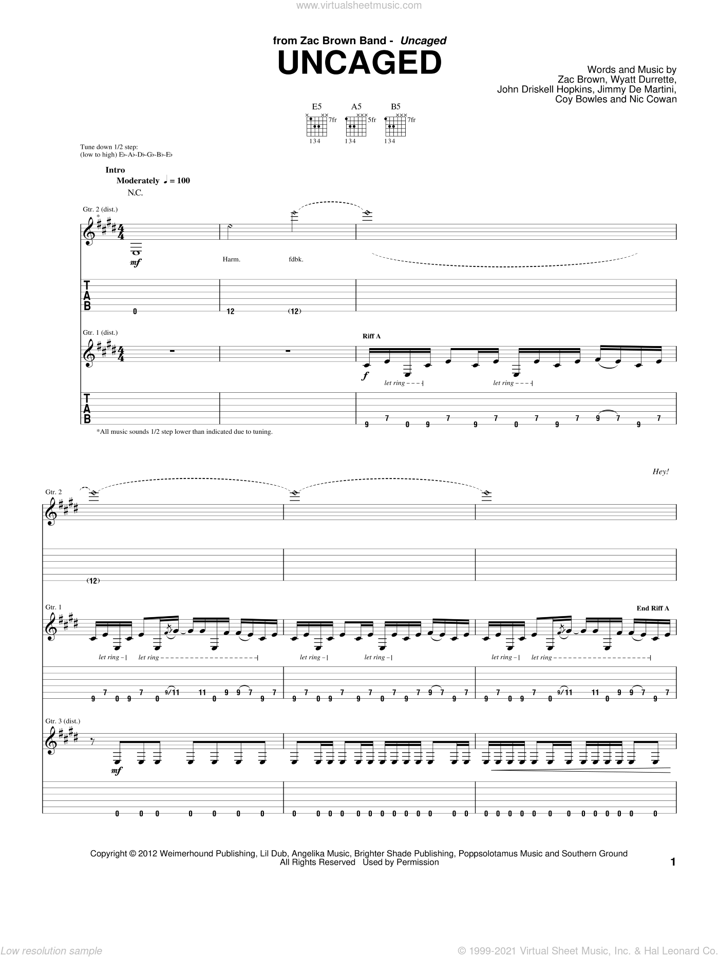 Uncaged sheet music for guitar (tablature) by Zac Brown Band, intermediate guitar (tablature). Score Image Preview.