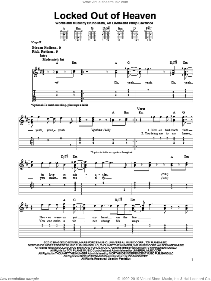 Locked Out Of Heaven sheet music for guitar solo (easy tablature) by Bruno Mars, Ari Levine and Philip Lawrence, easy guitar (easy tablature)