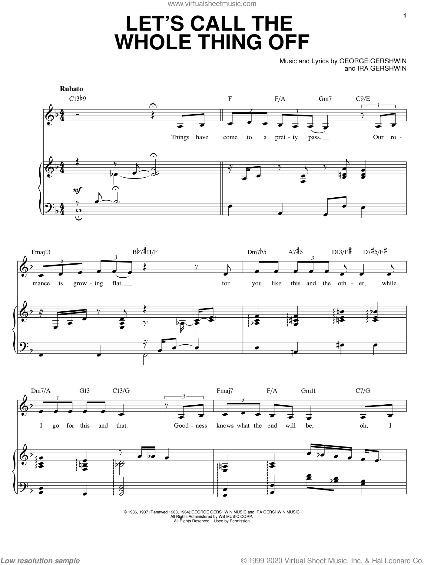 Let's Call The Whole Thing Off sheet music for voice and piano by Ella Fitzgerald, George Gershwin and Ira Gershwin, intermediate skill level
