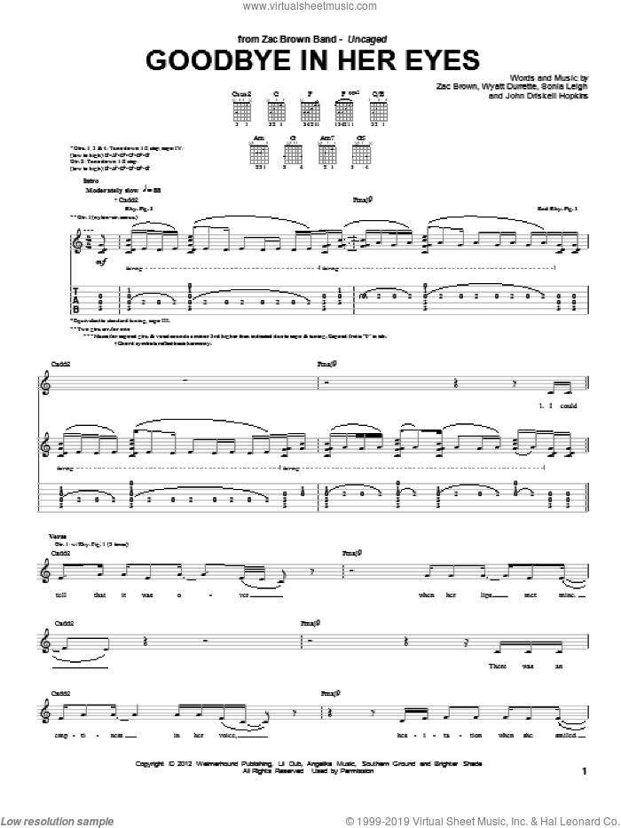 Goodbye In Her Eyes sheet music for guitar (tablature) by Zac Brown Band, intermediate guitar (tablature). Score Image Preview.