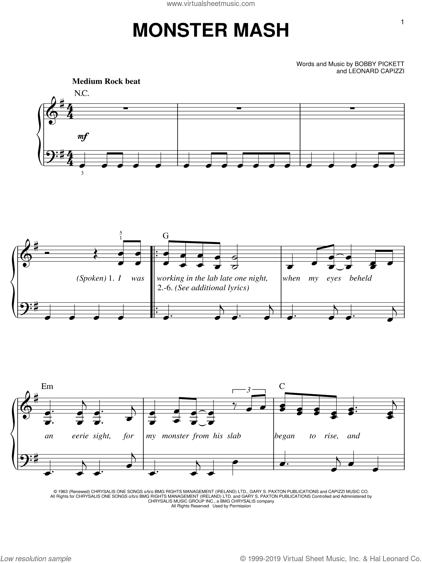 Monster Mash sheet music for piano solo by Bobby Pickett and Leonard Capizzi, easy skill level