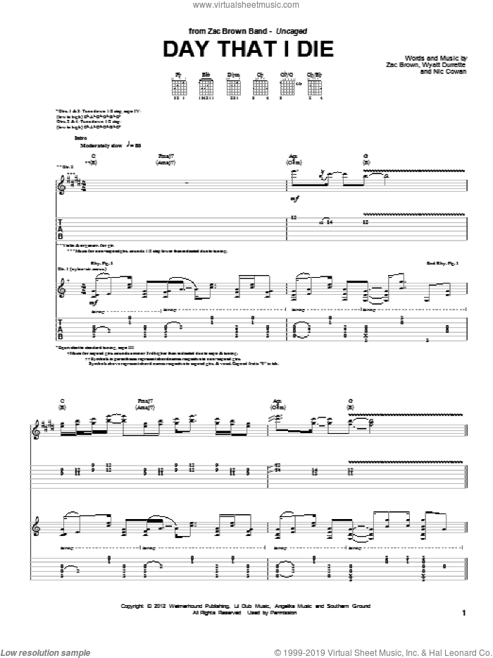 Day That I Die sheet music for guitar (tablature) by Zac Brown Band, intermediate skill level