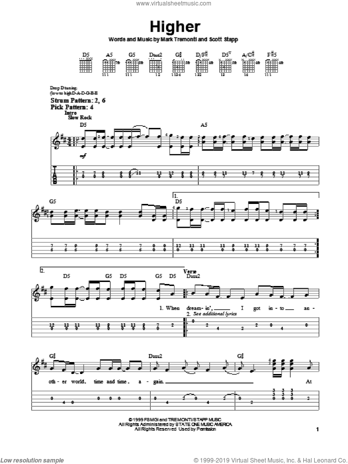 Higher sheet music for guitar solo (easy tablature) by Creed, Mark Tremonti and Scott Stapp, easy guitar (easy tablature)