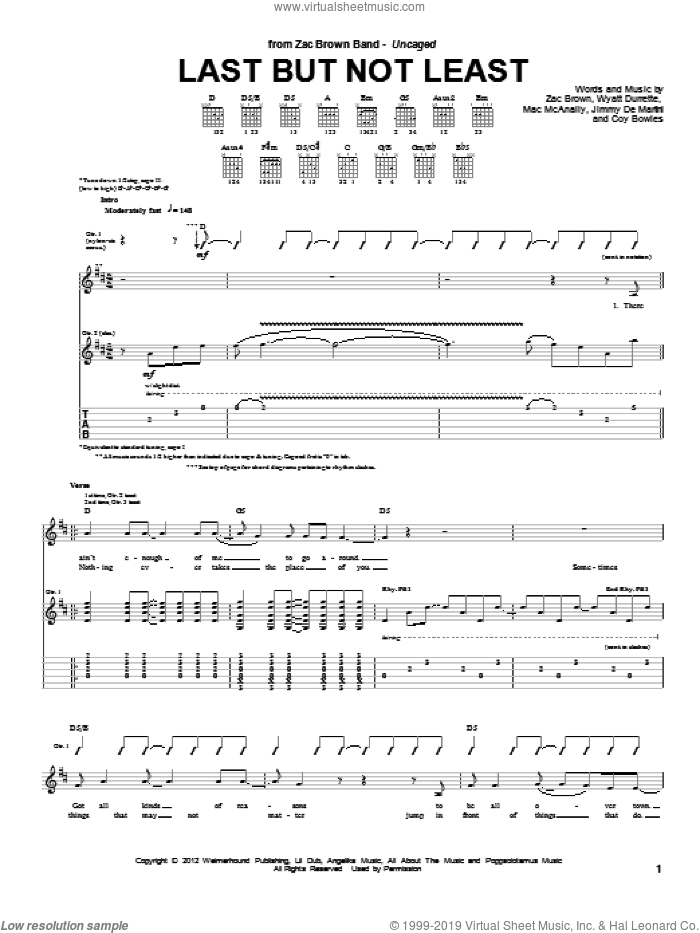 Last But Not Least sheet music for guitar (tablature) by Zac Brown Band and Zac Brown, intermediate skill level
