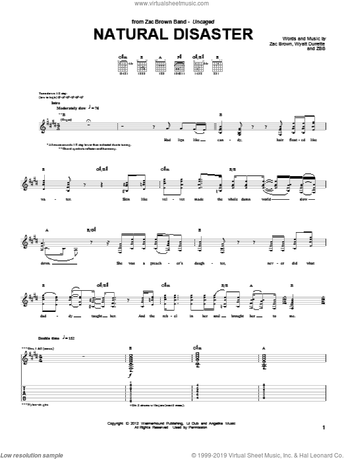 Natural Disaster sheet music for guitar (tablature) by Zac Brown and Zac Brown Band. Score Image Preview.
