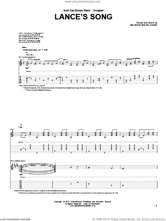 Lance's Song sheet music for guitar (tablature) by Zac Brown Band and Zac Brown, intermediate skill level