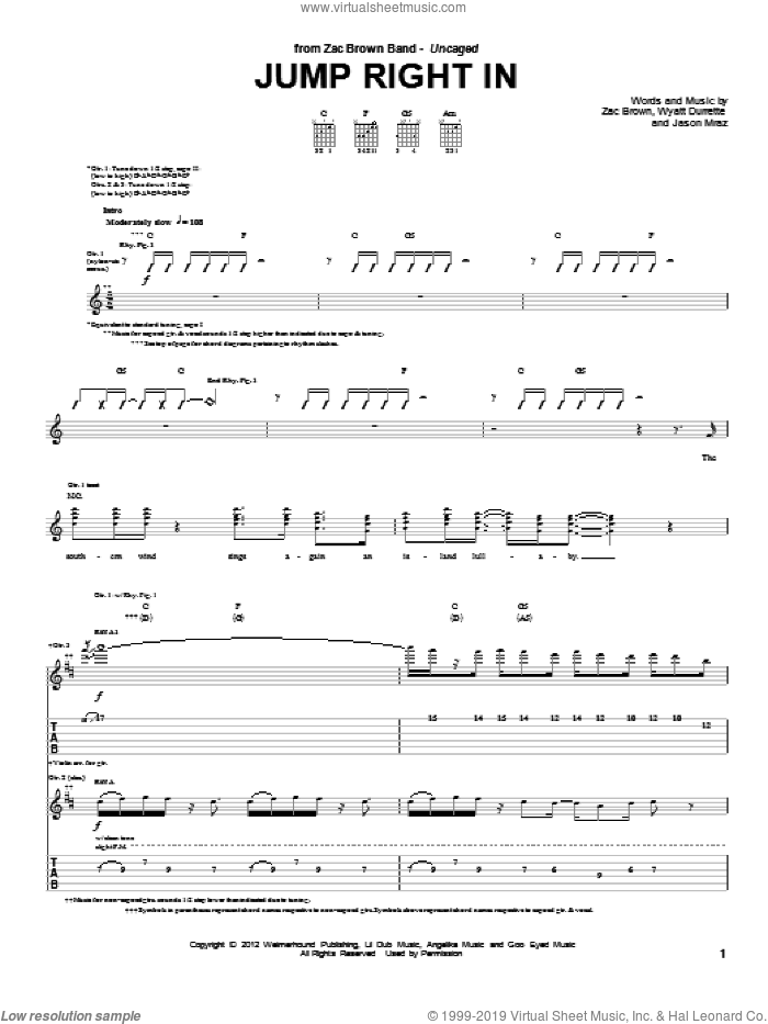 Jump Right In sheet music for guitar (tablature) by Wyatt Durrett, Jason Mraz and Zac Brown Band. Score Image Preview.
