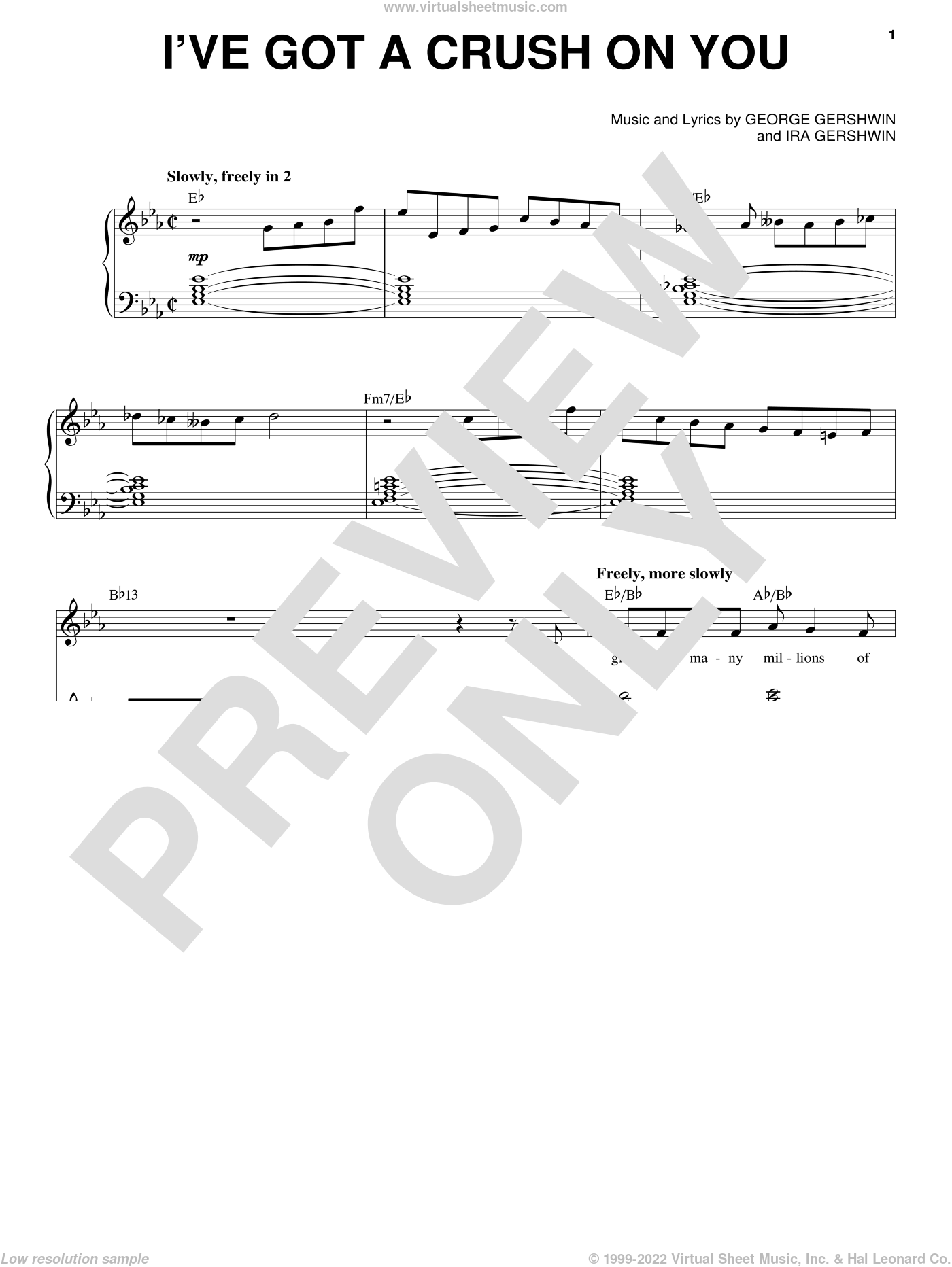 I've Got A Crush On You sheet music for voice and piano by Frank Sinatra, George Gershwin and Ira Gershwin, intermediate skill level