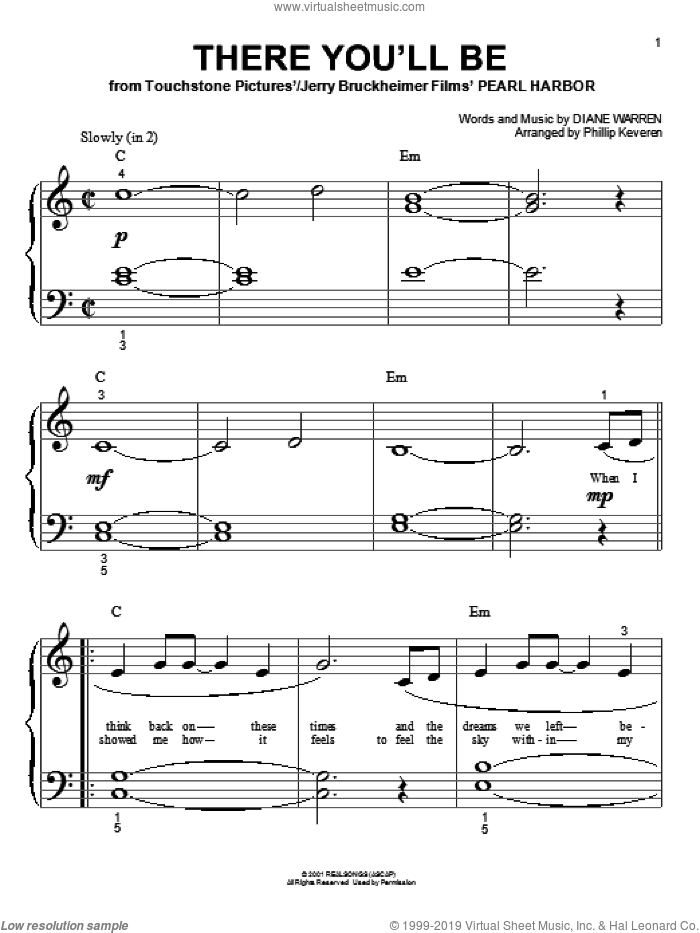 There You'll Be sheet music for piano solo (big note book) by Phillip Keveren, Diane Warren and Faith Hill, easy piano (big note book)