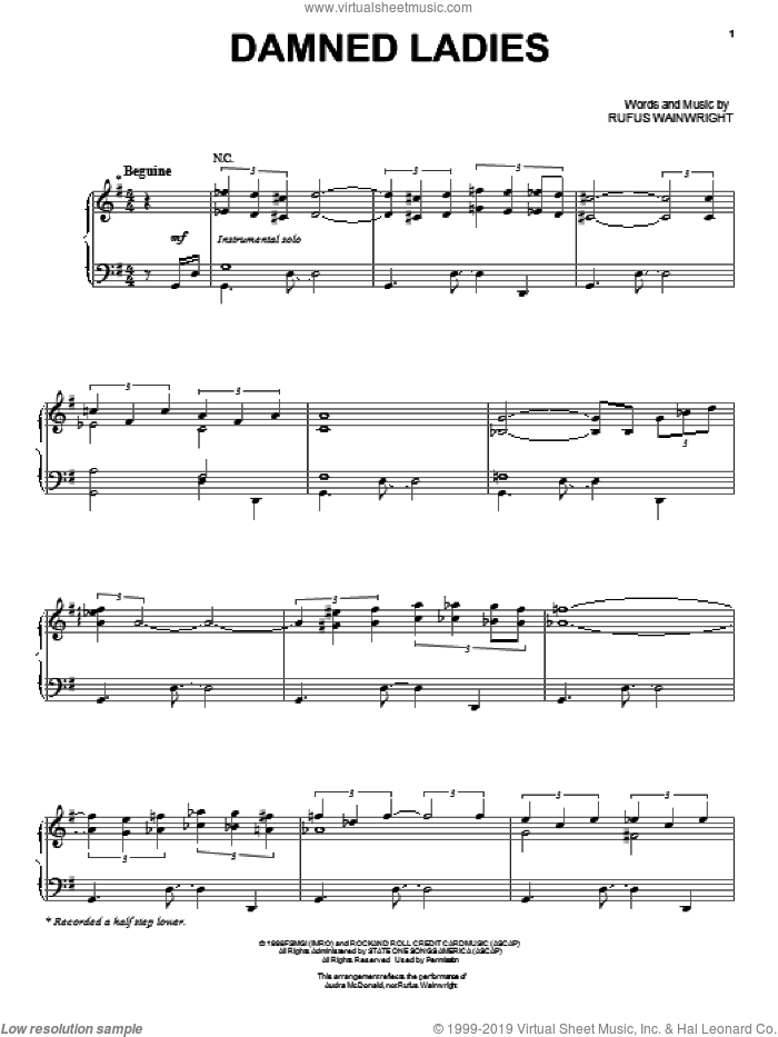 Damned Ladies sheet music for voice and piano by Audra McDonald and Rufus Wainwright, intermediate skill level