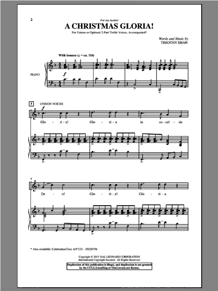 A Christmas Gloria! sheet music for choir by Timothy Shaw, intermediate skill level