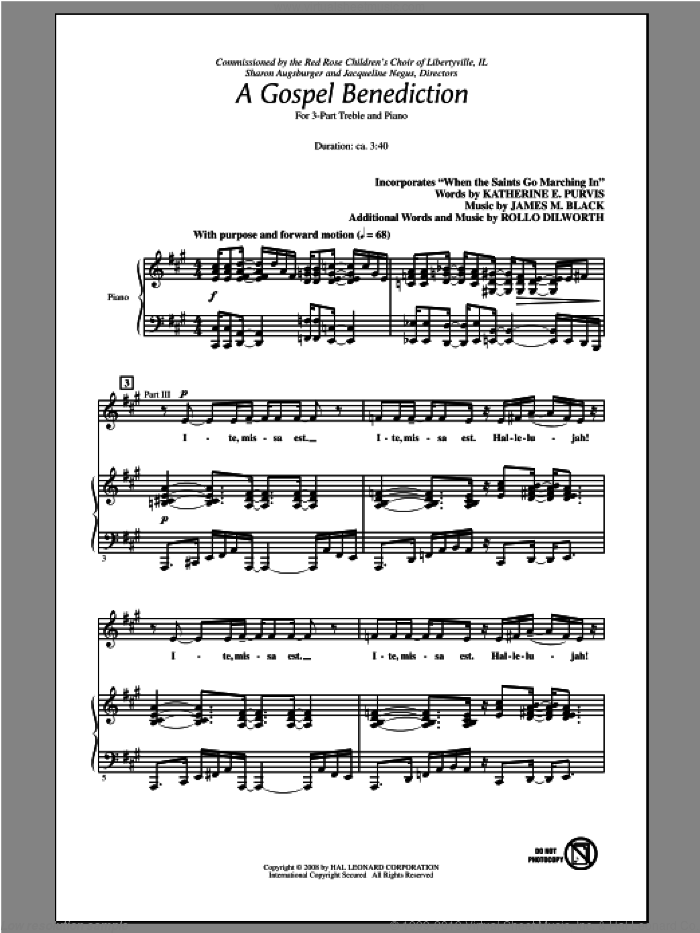 A Gospel Benediction sheet music for choir (3-Part Treble) by Rollo Dilworth, intermediate skill level