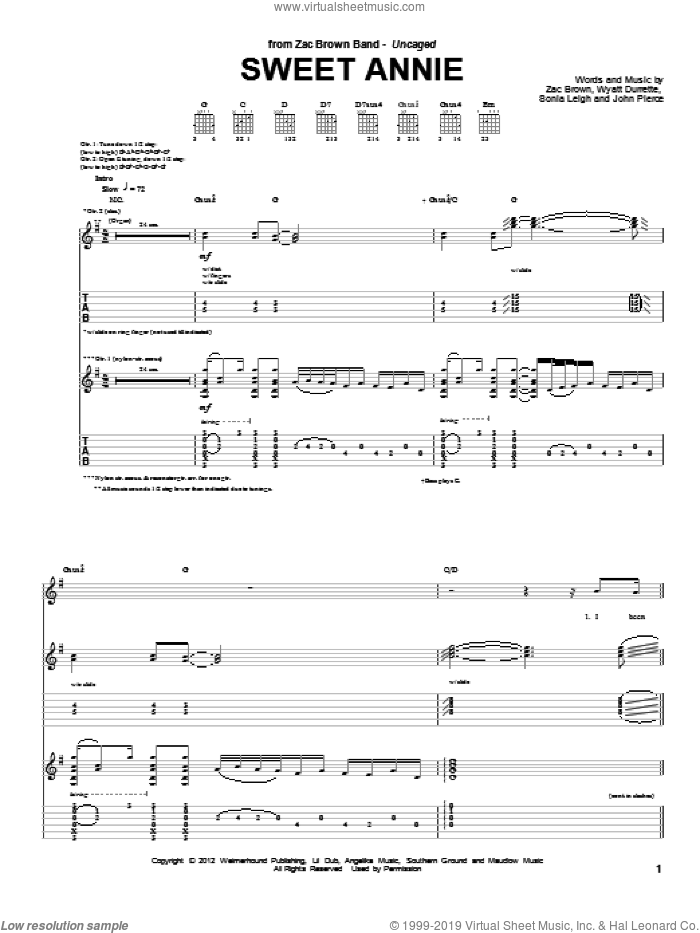 Sweet Annie sheet music for guitar (tablature) by Zac Brown Band and Zac Brown, intermediate. Score Image Preview.
