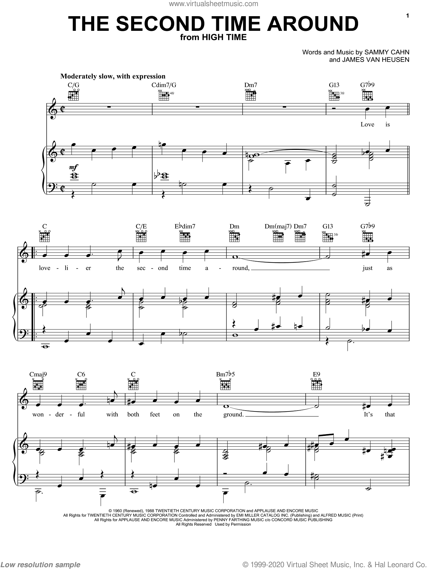 The Second Time Around sheet music for voice, piano or guitar by Sammy Cahn