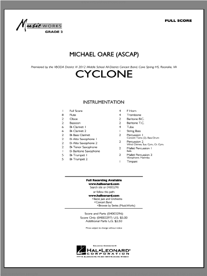 Cyclone (COMPLETE) sheet music for concert band by Michael Oare, intermediate skill level