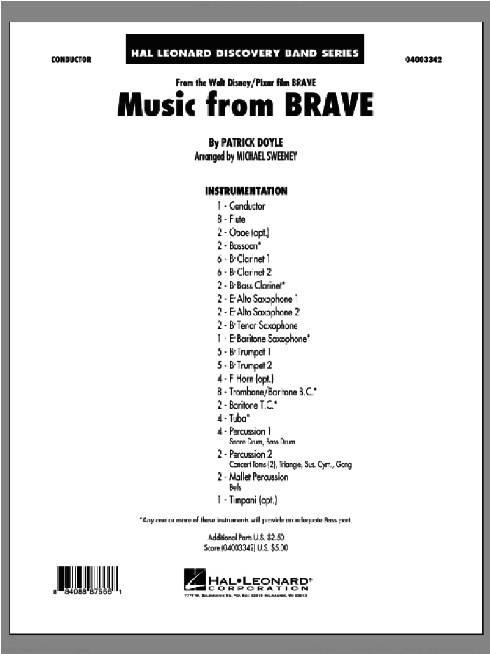 Music From Brave (COMPLETE) sheet music for concert band by Patrick Doyle and Michael Sweeney, intermediate. Score Image Preview.