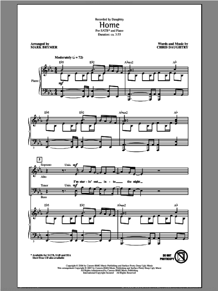 Home sheet music for choir (SATB: soprano, alto, tenor, bass) by Mark Brymer, Chris Daughtry and Daughtry, intermediate. Score Image Preview.