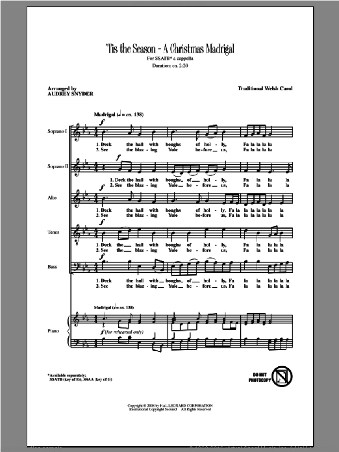 Deck The Hall sheet music for choir (SATB: soprano, alto, tenor, bass) by Audrey Snyder, intermediate skill level