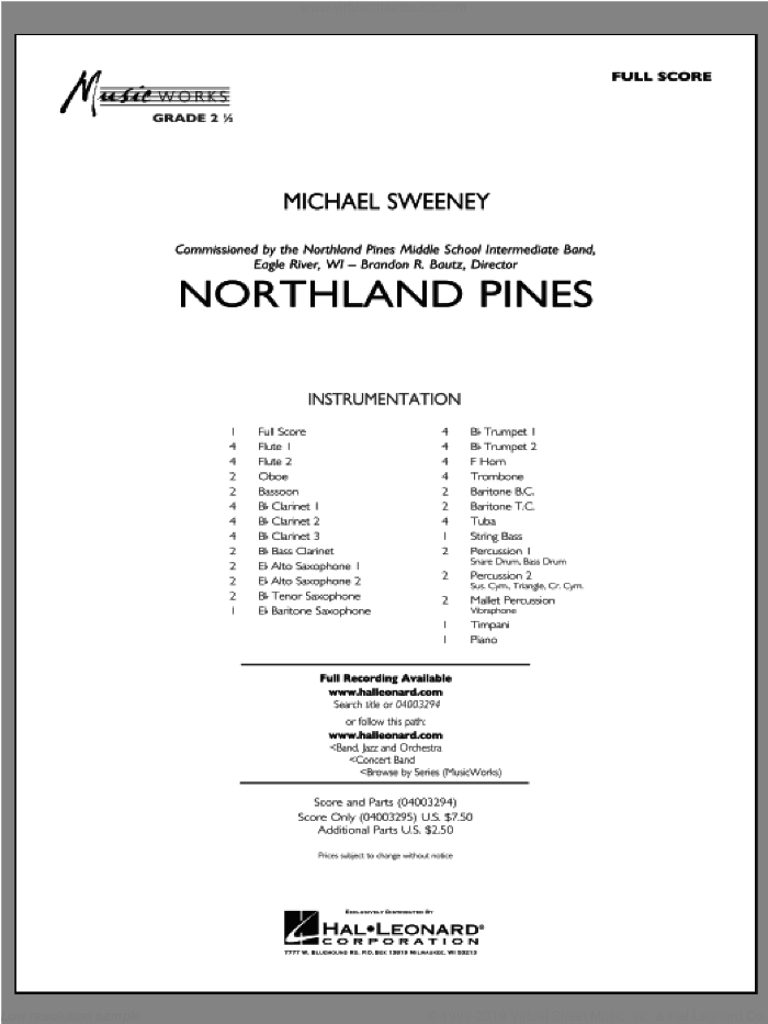 Northland Pines sheet music for concert band (full score) by Michael Sweeney