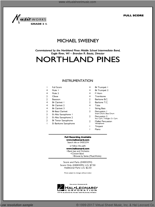 Northland Pines (COMPLETE) sheet music for concert band by Michael Sweeney