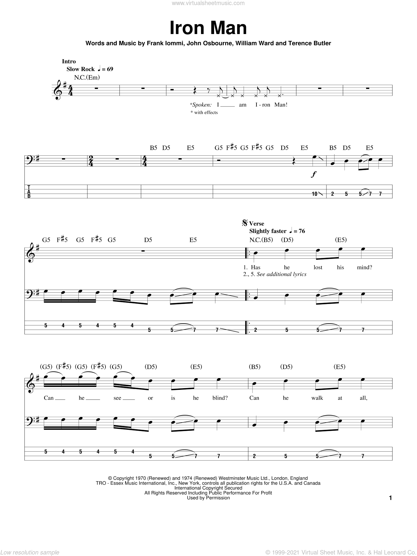 Iron Man sheet music for bass (tablature) (bass guitar) by William Ward, Black Sabbath, Ozzy Osbourne and Terence Butler. Score Image Preview.