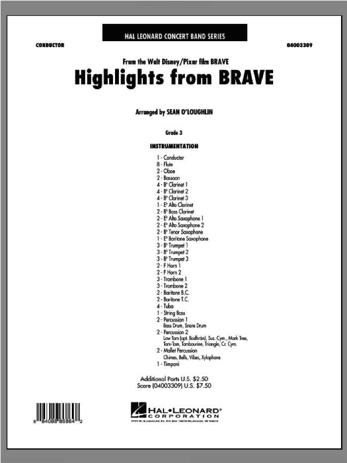 Highlights From Brave (COMPLETE) sheet music for concert band by Sean O'Loughlin, intermediate skill level