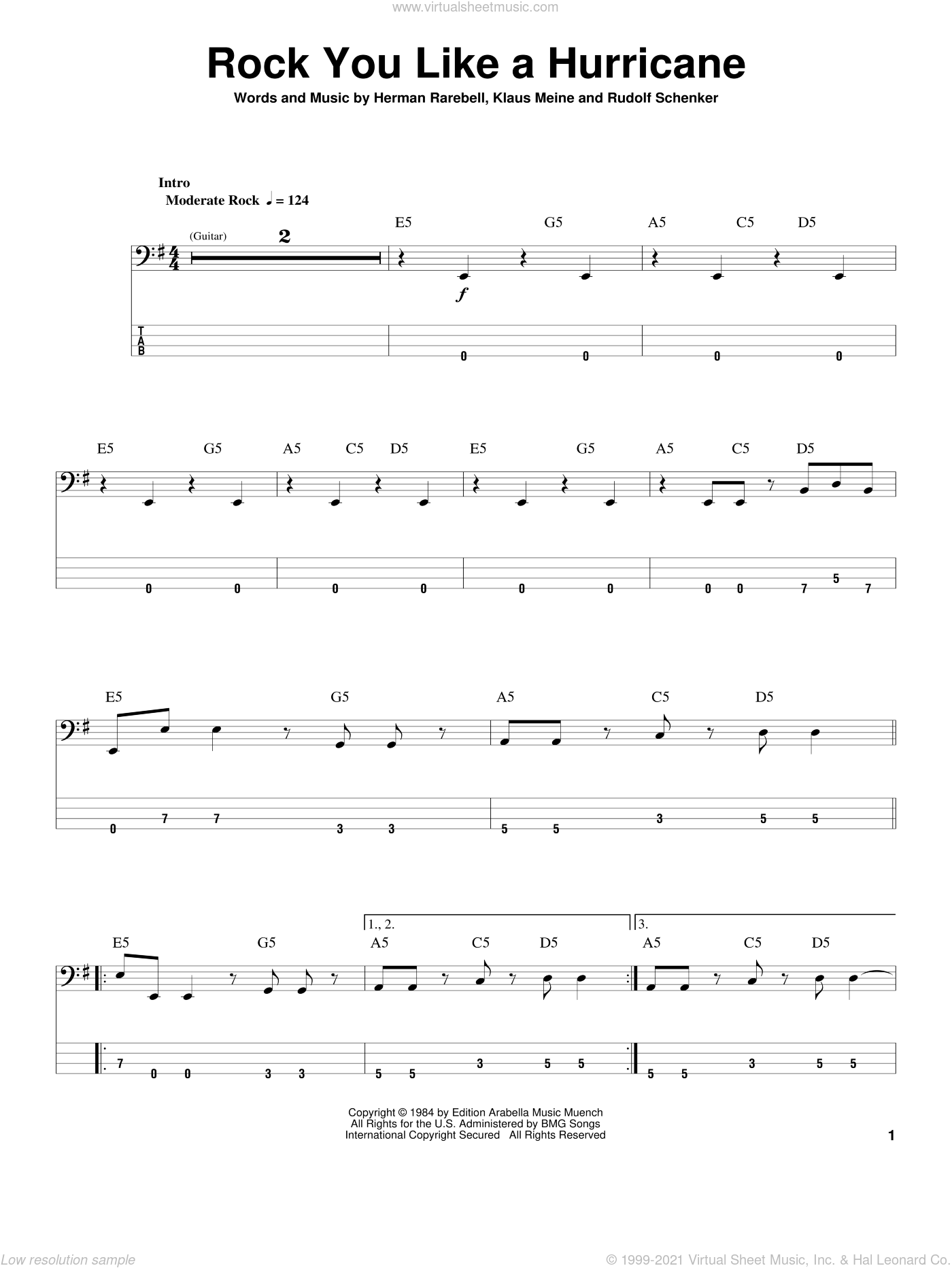 Rock You Like A Hurricane sheet music for bass (tablature) (bass guitar) by Scorpions, Herman Rarebell, Klaus Meine and Rudolf Schenker, intermediate skill level