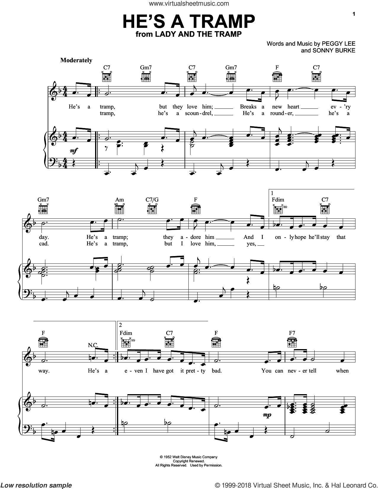 He's A Tramp (from Lady And The Tramp) sheet music for voice, piano or guitar by Peggy Lee, Alvin And The Chipmunks and Sonny Burke, intermediate skill level
